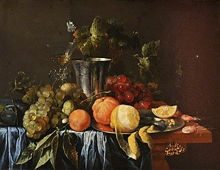 A Still Life with a Silver Jug and Fruit