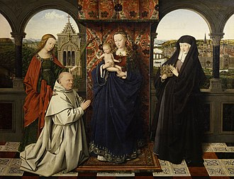 Madonna of Jan Vos - Virgin and Child, with Saints and Donor, 47.3cm × 61.3cm, early 1440s. Frick Collection, New York. Left to right: Saint Barbara, Jan Vos, Virgin and Child, Saint Elizabeth of Hungary