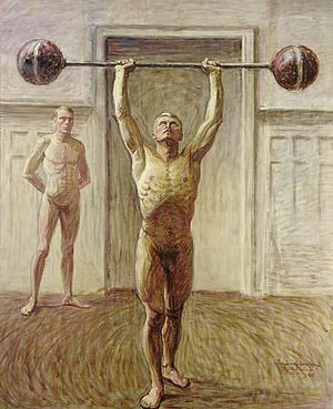 Eugène Jansson - Pushing Weights with Two Arms, II, 1913–14 (in a private collection)