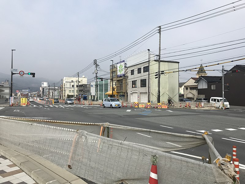File:Japan National Route 183 in front of Miyoshi Station.jpg