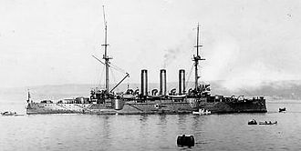 Japanese cruiser Izumo - Izumo at anchor in 1902