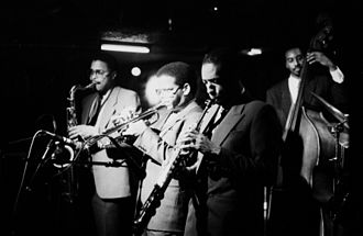 Terence Blanchard - The Jazz Messengers of 1985, from left: Jean Toussaint, Terence Blanchard, Donald Harrison, and Lonnie Plaxico