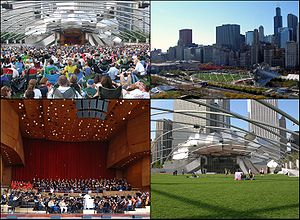 Jay Pritzker Pavilion - Views of the pavilion, clockwise from top left: 2009 Grant Park Music Festival season-ending performance of Beethoven's 9th Symphony; aerial view from the east; from the Great Lawn; stage during rehearsal.