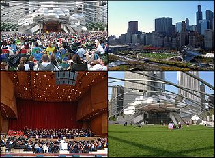 Four images of the same bandshell: top left is a large crowd seated on a lawn beneath a large metal trellis hung with speakers. The crowd, seen from behind, is watching a performance in a bandshell framed by curving shiny metal, with large buildings in the background. Top right is an aerial side view of the bandshell and trellis in a green park, with a large road running horizontally at bottom and a row of skyscrapers behind it at top. A curving metal bridge crosses the road. Bottom left is a large stage with a full symphony orchestra and two choirs behind it on risers. The stage walls and ceiling are paneled in wood. Bottom right is a large green lawn with scattered people playing on it. The trellis is overhead and the bandshell and skyscrapers are behind.