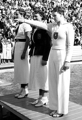 Swimming at the 1936 Summer Olympics - The podium of 100 m freestyle at the 1936 Olympic Games