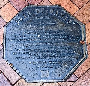 Joan de Hamel - Image: Joan de Hamel memorial plaque in Dunedin