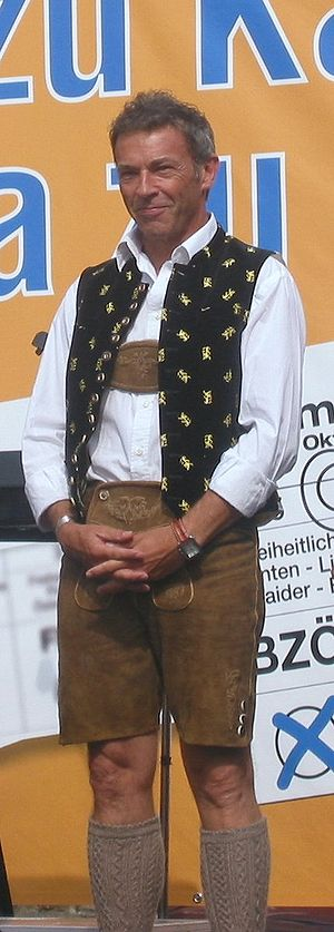 Jörg Haider - Jörg Haider wearing lederhosen at a meeting of his party BZÖ (2006)