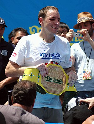 English: Joey Chestnut has logged his third co...