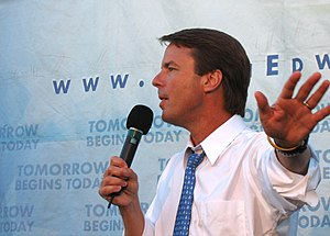 "John Edwards presidential campaign, 2008 - Edwards speaking at a ""Small Change for Big Change"" fundraiser in Los Angeles, California in August, 2007."
