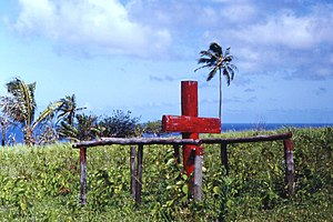 Cargo cult - Ceremonial cross of John Frum cargo cult, Tanna island, New Hebrides (now Vanuatu), 1967