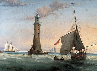 Hydraulic lime - Smeaton's Eddystone Lighthouse. John Smeaton is credited with pioneering hydraulic lime in the 18th century, which led to the development of Portland cement and thus modern concrete. Painting by John Lynn.