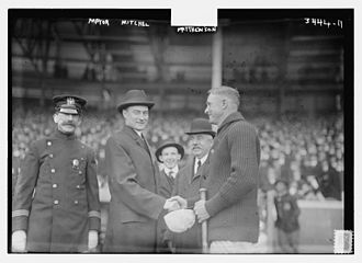 1915 New York Giants season - John Purroy Mitchel at the Giants opening game at the Polo Grounds on April 14, 1915, where he is shaking hands with Christy Mathewson