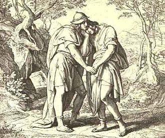 "Jonathan (1 Samuel) - ""Friendship between Jonathan and David"" by Julius Schnorr von Karolsfeld"