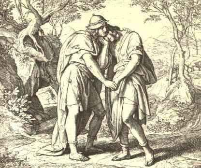 Jonathan Lovingly Taketh His Leave of David by Julius Schnorr von Carolsfeld
