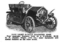 "Jonz Automobile Light 2-Cycle Roadster catalog listing, from ""Motor Age"", 1911"