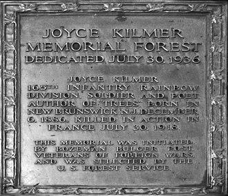 Joyce Kilmer Memorial Forest - Image: Joyce kilmer plaque