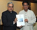 Justice (Retd.) D.M. Dharmadhikari presenting the Report on AIR India HR issues to the Union Minister for Civil Aviation, Shri Ajit Singh, in New Delhi on January 31, 2012.jpg