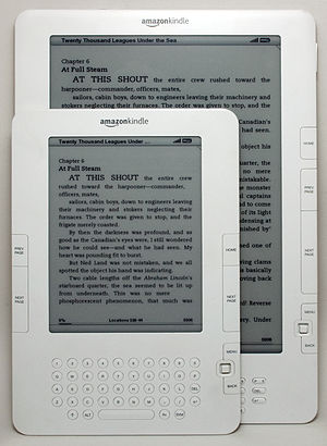 Amazon Kindle - A Kindle DX underneath a Kindle 2