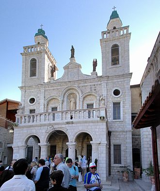 "Marriage at Cana - The ""Wedding church"" in Kafr Kanna, Israel, a pilgrimage site believed by many Christians to be the site of the biblical marriage."