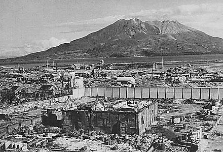The ruins of a Kagoshima residential area with Sakurajima in the background, 1 November 1945 Kagoshima after the 1945 air raid.JPG