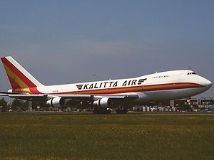 Kalitta Air - Kalitta Air Boeing 747 landing at Amsterdam Schiphol Airport