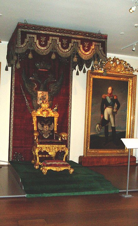The throne used by Emperor Alexander I at the Porvoo Diet in 1809. The throne has been part of the collection of the National Museum of Finland from 1919 onwards Kansallismuseo valtaistuin.jpg