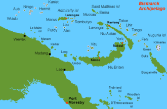 Aua Island - Location map, Aua at top left