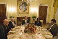 Karzai-Cheney-Bush-Rice-Musharraf at a dinner table in 2006.jpg