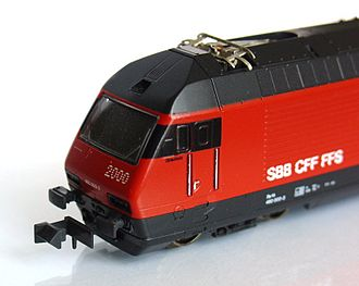 "N scale - A modern Kato model of SBB Re 460 electric locomotive, featuring the ubiquitous Arnold ""Rapido"" coupler"