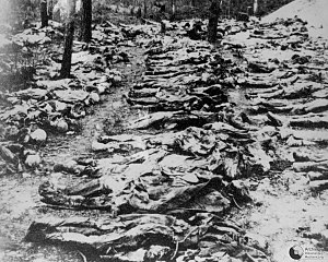 Number of deaths in the Soviet Union under Joseph Stalin - Photo from 1943 exhumation of mass grave of Polish officers killed by NKVD in Katyń Forest in 1940