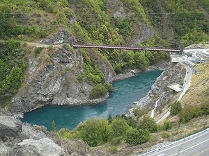Kawarau River - Kawarau Bridge Bungy, the world's first commercial bungy site. (A. J. Hackett Bungy Centre on the right)
