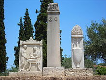 Modern replicas of the burial monuments for Hegeso, daughter of Proxenios, and for Koroibos. Kerameikos Tombs.jpg