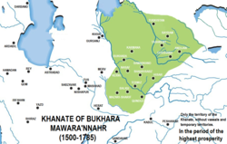 The Khanate of Bukhara (green), c. 1600.