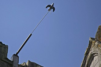 Popinjay (sport) - Papingo target on pole at the top of Kilwinning Abbey tower