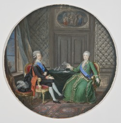 King Gustavus III and Catherine II of Russia in Fredrikshamn 1783 (Cornelius Höyer) - Nationalmuseum - 23951.tif