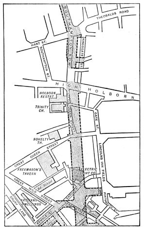Kingsway, London - Map showing proposed route, ca. 1900