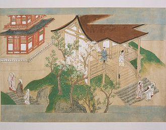 Tosa school - Scene from a long narrative scroll retelling the history of a Buddhist monastery, by Tosa Mitsunobu (1434–1535)