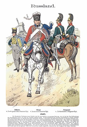 Russian dragoons and hussars in 1807 Knotel IV, 22.jpg