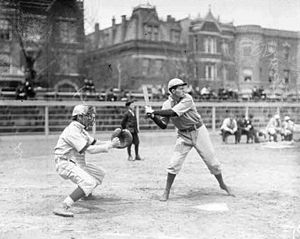 Knox College (Illinois) - A Knox baseball player at bat in a 1908 game versus DePaul University