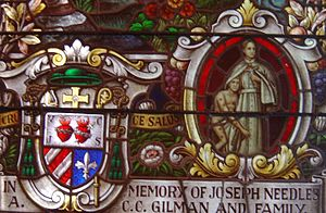 Herman Koeckemann - Episcopal arms of Msgr. Koeckemann, and inset of Father Damien de Veuster in a window at Cathedral of Our Lady of Peace, Honolulu.