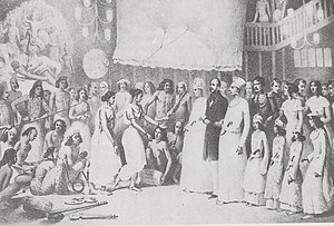 Shobhabazar - Old painting of Durga Puja in Kolkata, possibly at Shobhabazar