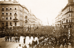 Kossuth Lajos gyászmenete 1894-ben Budapesten. Klösz György felvétele.