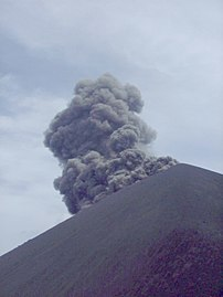 Photograph of an eruption of Krakatoa. Apologi...