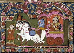 Krishna and Arjun on the chariot, Mahabharata, 18th-19th century, India.jpg