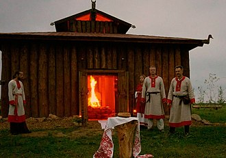 Slavic Native Faith - Fire ritual at the Temple of Svarozhich in Krasotinka.