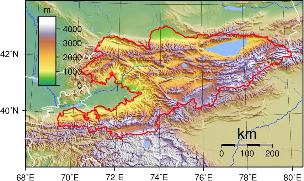 Kyrgyzstan Topography