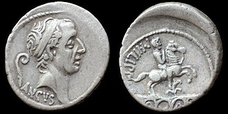 Ancus Marcius - O: diademed head of Ancus Marcius, lituus behind