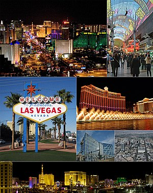 A montage of the city of Las Vegas; from top to bottom: Las Vegas, Vegas Vic, Binion's Horseshoe, Fremont Street Experience, and Plaza Hotel & Casino