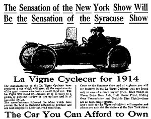 Cyclecar - 1914 La Vigne cyclecar advertisement