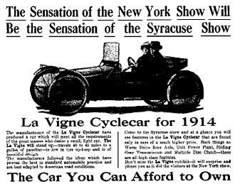 Cyclecar - 1914 La Vigne cyclecar advertisement